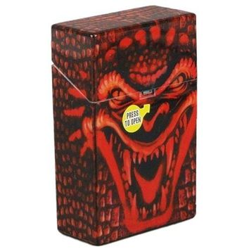 Grinning Demon Cigarette Case Hard Non Crush Shell Flip Top