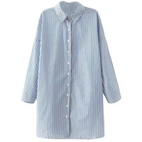 Striped Long Sleeve Shirt Collar Button Down Long Blouse