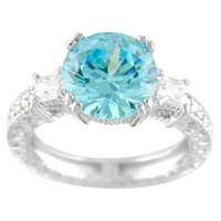 Silver Plated Round Ring Blue