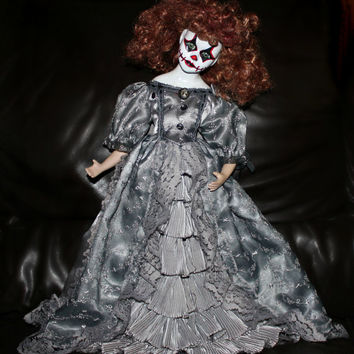 Creepy Lillian Girl OOAK Doll Haunted Victorian Horror Clown Gothic U2