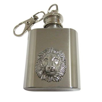 Silver Toned Textured Lion Head 1 Oz. Stainless Steel Key Chain Flask