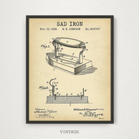 Laundry Wall Art, Sad Iron Patent Art, Digital Download, Vintage Iron Box Illustration, Antique Inventions, Laundry Decor Wall Gallery Art