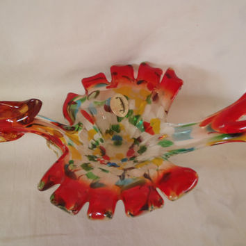 Murano Glass Bird Figurine Empoli style , Hand Blown Glass Collectible Figurine