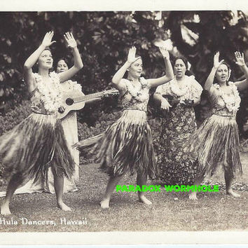 Vintage 1940's 40's  Hula Dancers Hawaii Vacation War Black And White Blank Post Card Wall Art Decor Man Cave Women