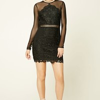 Semi-Sheer Crochet Lace Dress