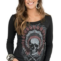 Rock 47 by Wrangler Women's Vintage Black with Skull Headdress Long Sleeve Tee