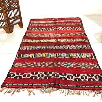 Authentic Berber carpet, 5.3ft x 8.9ft, Red Vintage Moroccan Berber Tribal Rug Kilim Moroccan Hand Woven Rug BENIOURAIN rug Morocco carpet