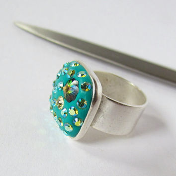 DeCore Clay Ring adjustable wide band blue by SandstarJewelry
