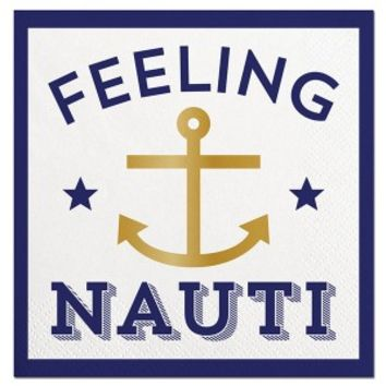 Feeling Nauti Gold Foil Beverage Napkin
