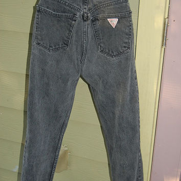 Vintage 80s High Waisted Tapered Faded Black Guess Ankle Zip Jeans Size 27
