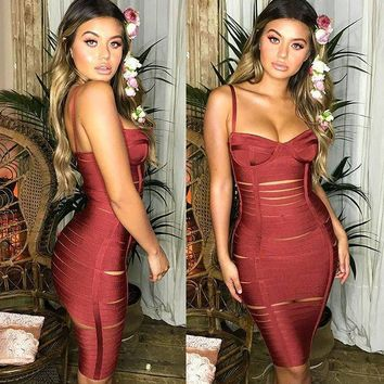 Burgundy Spaghetti Strap Cutout Bandage Dress