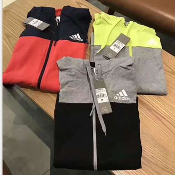 Adidas splicing color Hooded zipper Hoodies Suitable for Women and man Sportswear Coat H-A-ALCLFS