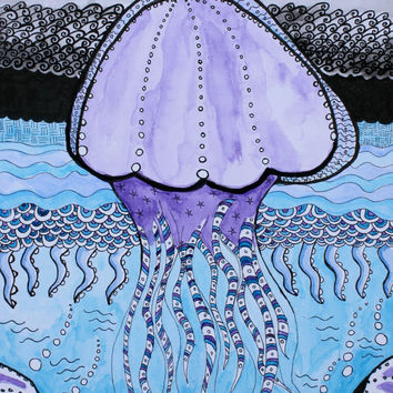 Jellyfish pen and ink with watercolor painting, tangle art