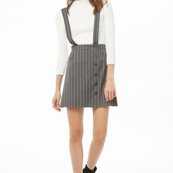 Pinstriped Suspender Skirt
