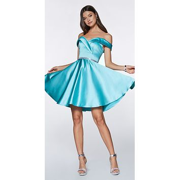 Off the Shoulder Blue Knee Length Satin Party Dress