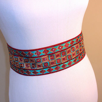Tribal Belt: Mirrored Banjara Style Indian Belt, Silk Sari Border Sash, Gypsy Costume, Belly Dance Belt, India, Custom Made