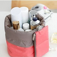 Makeup bag - Mr.Pro Waterproof Travel Kit Organizer Bathroom Storage Cosmetic Bag Carry Case Toiletry Bag (Cylinder Red)
