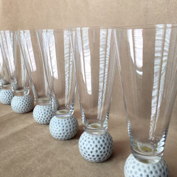 Golf Pilsners, Golf Ball Glasses, Golf Lover Kitsch, Golf Themed Barware, Beer Glasses, Unique Bar Glasses, Country Club, Sports Pilsners