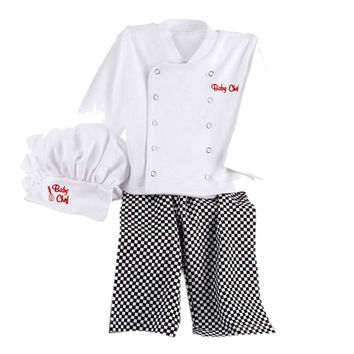 Baby boys clothing set Chef Cosplay Outfits Baby Boys Baby Chef Shirt Tops+Pants Cap Kids Clothes Set