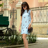 Eye Print Sleeveless Turtle Neck Shift Dress