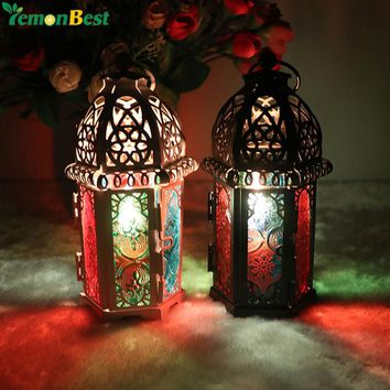 Vintage Moroccan Lanterns Metal Candlestick Candle Holder Windproof Iron Lantern Candle Holders For Wedding Gift Home Decoration