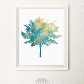 Printable art print Blue Tree wall art, Nature wall decor, Bathroom wall art, Bedroom decor, Modern nature art, Printable wall art decor