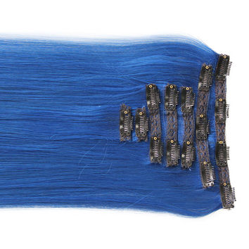 "Alluring Blue:  21"" Clip In 100% Human Hair Extensions"