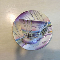 Norcrest Tea Cup Birch in Remote Fine China Tea Cup Teacup and Saucer Purple Outdoor Scene Hand Painted Tea Cup