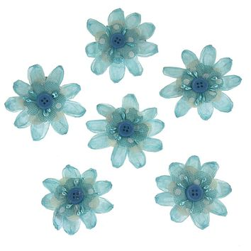 Paper Flower Clothespins Embellishment, 3-Inch, 6-Count, Blue