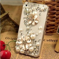 Bling Crystal Lucky Flower Pearls and rhinestones iphone 4S Case