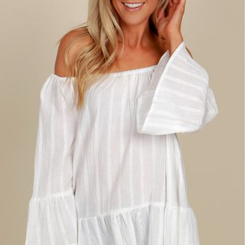 Sweet Girl Off the Shoulder Top Off White