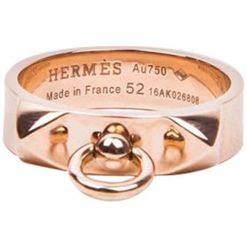"Hermes Ring ""Collier de Chien"" in Pink Gold Size 52FR - 6US"