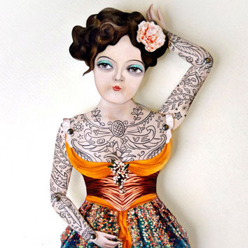 $20.00 Victorian Tattooed Gal Paper Puppet Doll by crankbunny on Etsy