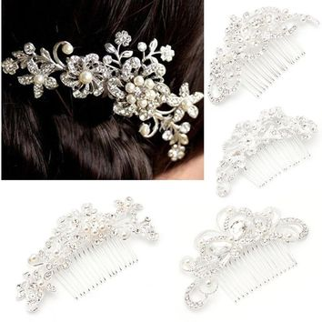 Bridal Silver Rhinestone Crystal Flower Hair Comb Clip Jewelry Pearls For Wedding party