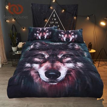 Wolf Bedding Set Painting 3D Vivid Duvet Cover With Pillowcases