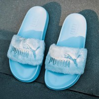 """PUMA"" Rihanna Fenty Leadcat Fur Slipper Shoes Women Slipper Light blue"