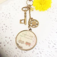 Travel Way Washi Tape Antique Pendant Planner Charm, Bag Charm, Filofax Charm, Zipper Pull Charm