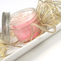 Sweet Pink Sugar scented Soy Candle, Hand Poured Soy Candle -- 4 ounce Mason Jar