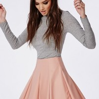 Missguided - Faux Leather Flippy Skater Skirt Dusky Pink