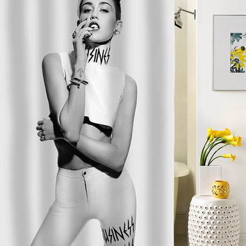 Miley Cyrus classic shower curtain special custom shower curtains that will make your bathroom adorable