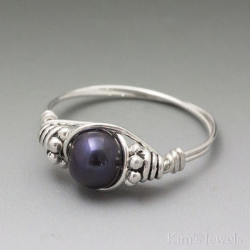 Cultured Black Pearl Bali Sterling Silver Wire Wrapped Bead Ring