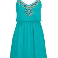Embroidered Front Gauze Dress - Aqua Crush