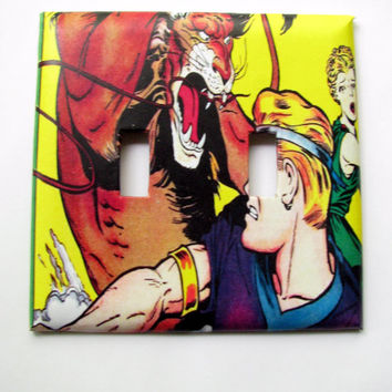 Double Light Switch Cover - Light Switch Plate Vintage Comic Book Art Action