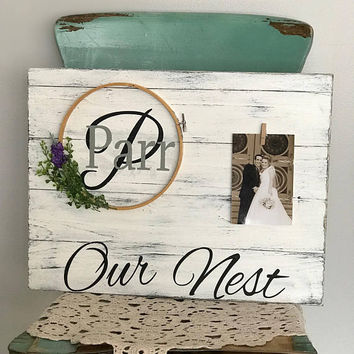 Our nest sign, our nest wood sign, family name sign, farmhouse, gallery wall sign, monogram sign, wedding gift, bridal shower gift, love sig