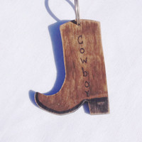 Rustic wooden cowboy boot key ring, western key ring, personalized key ring