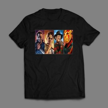 HORROR MOVIE VILLAINS, LEATHER FACE, MIKE MYERS,FREDDY, AND JASON T-SHIRT