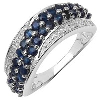 Silvancé - Women's Ring - 925 Sterling Silver - Genuine Blue Sapphire - R1365BSAPH_SSR