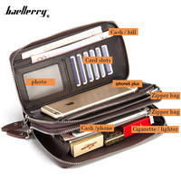 2016 New Handbag Men Long Large Capacity PU Leather Wallets Male Business Black Brown Clutch Double Zipper Wallet Bags Purses
