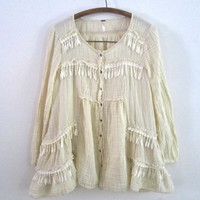Upcycled, Cream, Free People, Gauze, Peasant Blouse, Tunic, with Leaflet tassels