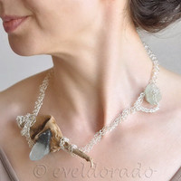 Necklace - natural driftwood with sea glass and handwoven sterling silver filled lace - Ocean Whisper  FREE SHIPPING